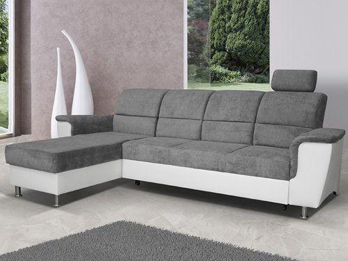 Rohová sedačka - Tempo Kondela - Santiago malá (biela + sivá) (L)