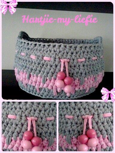 XLarge toy basket from tshirt yarn.