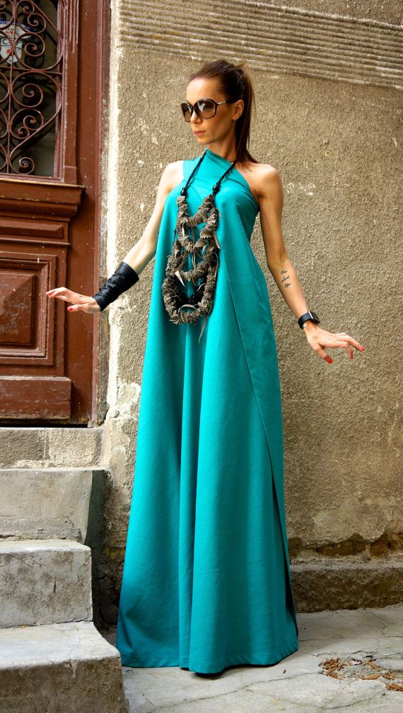 Hot Summer Maxi robe robe en lin vert de pin / une épaule caftan robe / Extravagant robe longue / Party robe par AAKASHA A03144