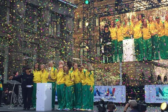 Australia's Diamonds netball team have had a public reception in Sydney's Martin Place after their victorious World Cup campaign (Image: ABC News/Jennifer Browning)
