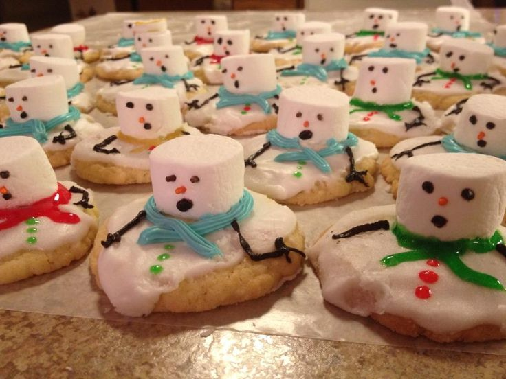 no explanation....but darn cute...maybe sugar cookies with white icing and then put a marshmallow on top and let it melt just a bit?  Then add decorations as you want.  Gonna try it anyway.