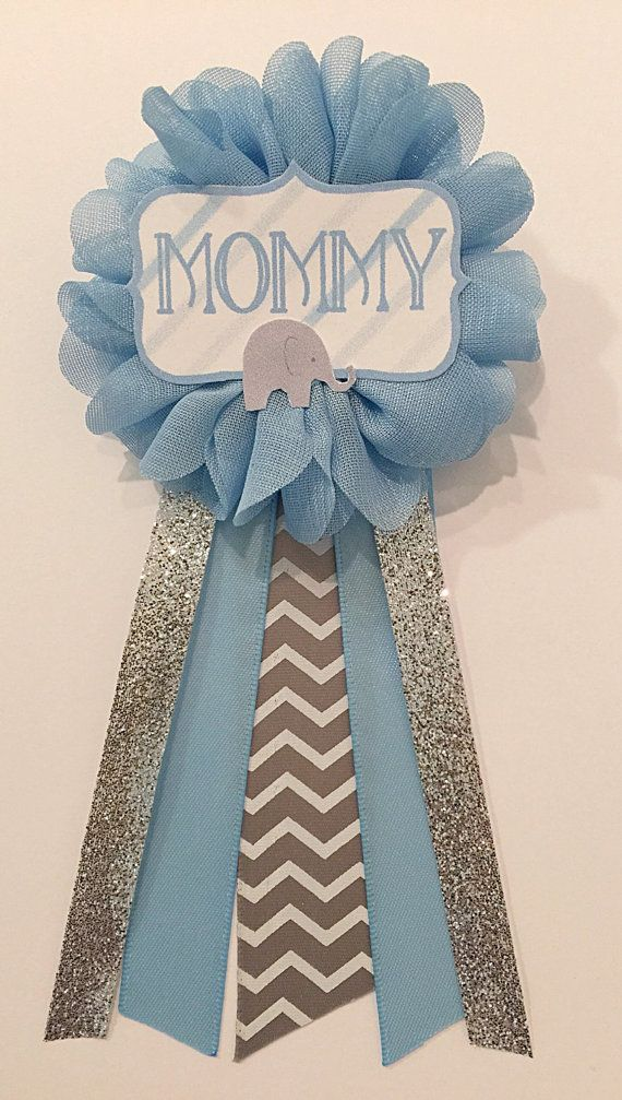 Gray Elephant Blue Baby Shower Pin Mommy To Be Pin Flower Ribbon Pin  Corsage Gray Glitter Rhinestone Mom To Be Chevron Silver