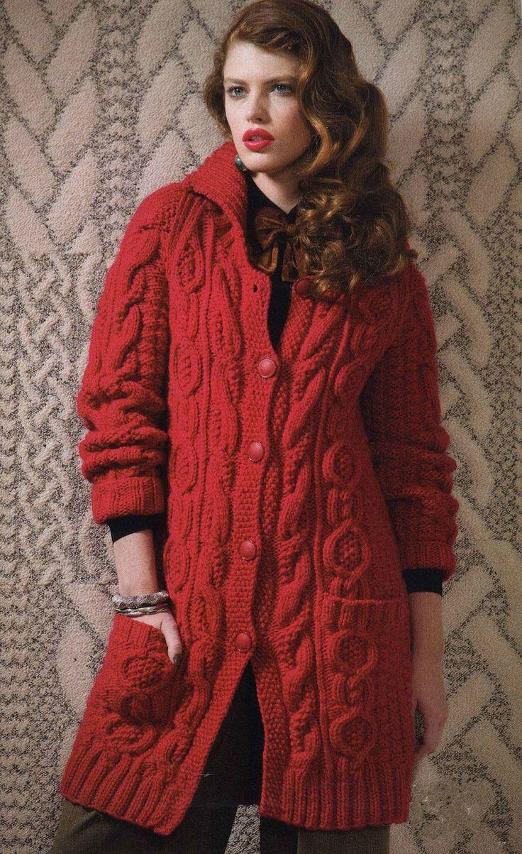 Короткое красное пальто из журнала «Vogue Knitting Fall» 2012 | Шкатулочка для рукодельниц
