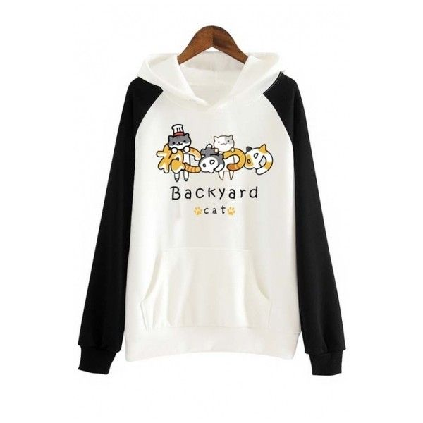 Nekoatsume Japan Anime Sweater Hoodie ($41) ❤ liked on Polyvore featuring tops, hoodies, white hooded sweatshirt, long white top, animal print hoodie, animal print tops and hooded sweatshirt