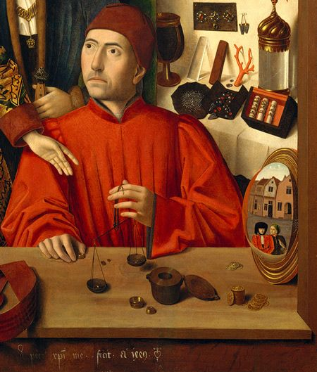 petrus christus detail a goldsmith in his shop possibly