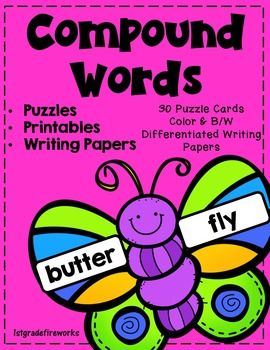 1stgradefireworks  Compound Words Compound Word Butterfly Puzzles  Butterflies to cut in half and put back together to make compound words. 30 complete butterflies in COLOR & B/W. Student printable accountability pages included. Differentiated writing papers for students to use compound words in their daily writing.   Spring themed.https://www.teacherspayteachers.com/Product/Compound-Words-2401681
