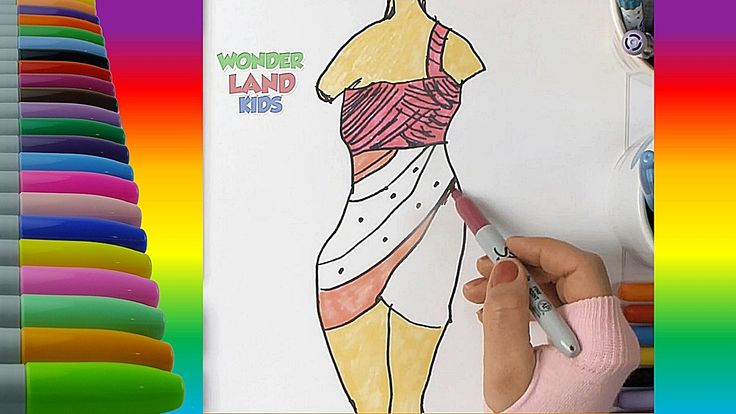 Pretty Dresses Coloring Page Painting -  Learn Colors Education for Kids...