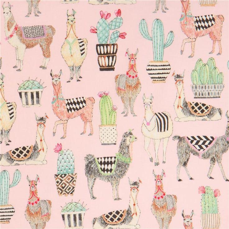 http://www.kawaiifabric.com/en/p12209-light-pink-Michael-Miller-fabric-llama-animal-cactus-Lovely-Llamas.html