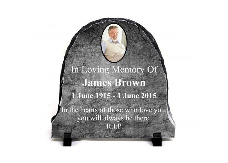 Custom Personalised MEMORIAL SLATE ROCK With Photo 20x20cm with stands Funeral 2