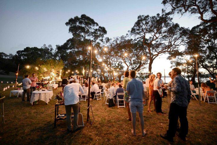 Bare Bulb Festoons at Festival Wedding www.albanyeventhire.com.au