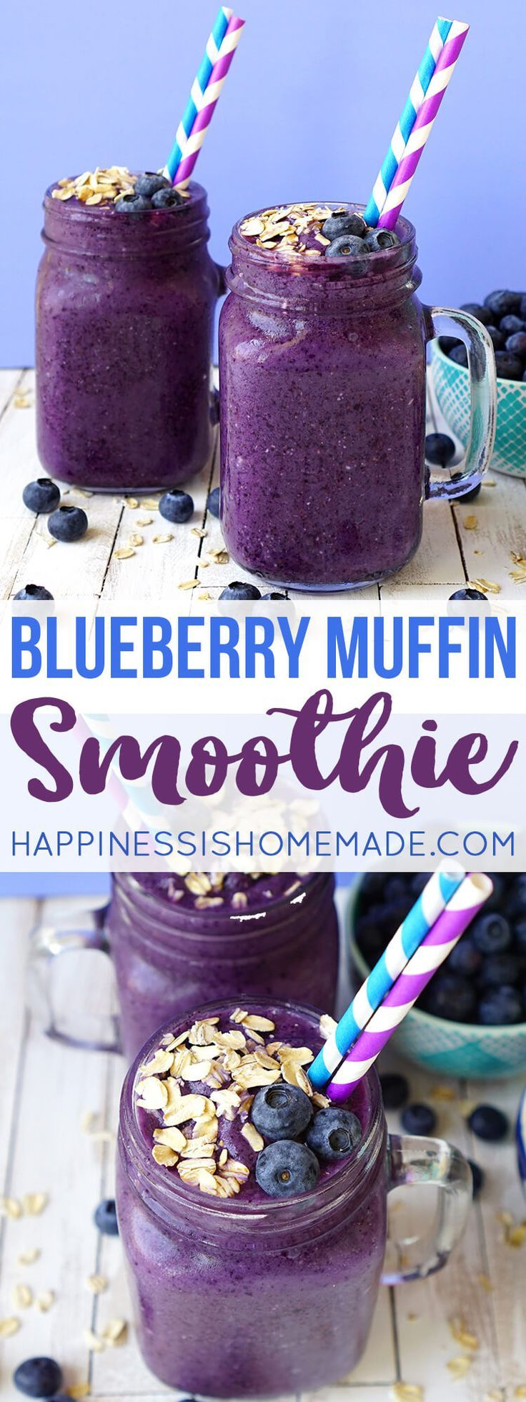 This delicious blueberry muffin smoothie is the perfect way to start your day! A healthy on-the-go breakfast that tastes just like your favorite bakery treat!  via @hiHomemadeBlog