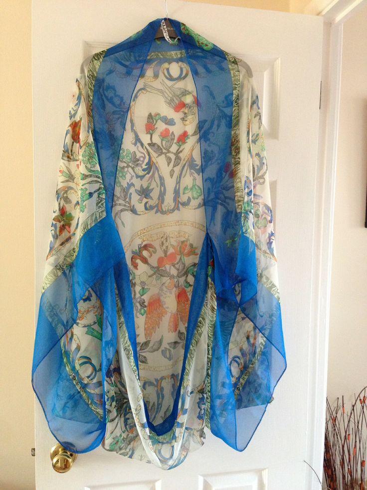 Blue Border Bird Print Scarf Cape Kimono