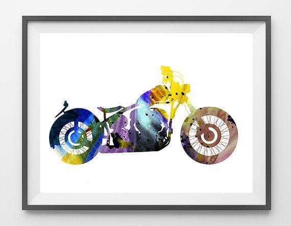 50% OFF - Motorcycle watercolor print, custom motorcycle illustration, motorcycle art, Wall decor, motors art, sportster lover gift [NO 195]