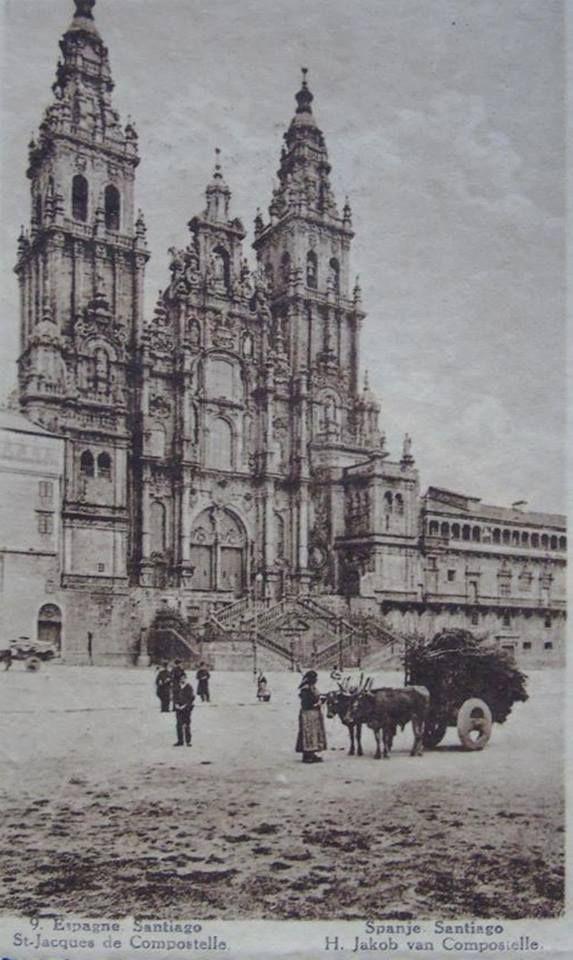 Fotografía antigua de Santiago de Compostela Plaza del Obradoiro. Ollar Galicia. Fotografía antiga