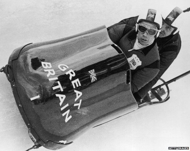 Nash and Dixon in their bobsled, 1964