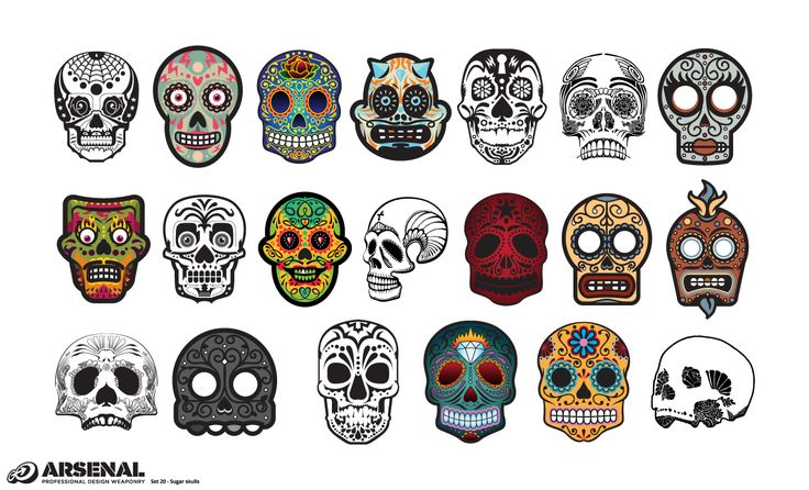 Candy Skulls Vector Pack by Go Media on Creative Market