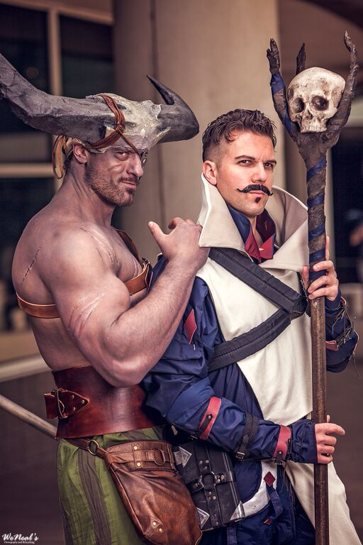 Iron Bull and Dorian from Dragon Age: Inquisition! So good!! Dragon Age Group at Denver Comic Con 2015. Dorian: Ryan Wilkes. Iron Bull: Jesse of JessoLaurus Rex (https://www.facebook.com/JessoLaurusRex). Photography by WeNeals: https://www.facebook.com/weneals
