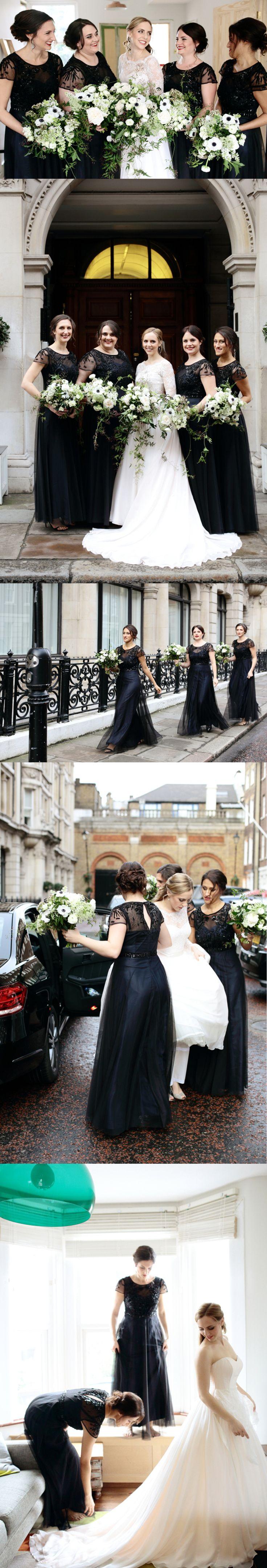 Black Short Sleeve See- through Tulle Beading Open Back Long Bridesmaid Dresses, AB1177