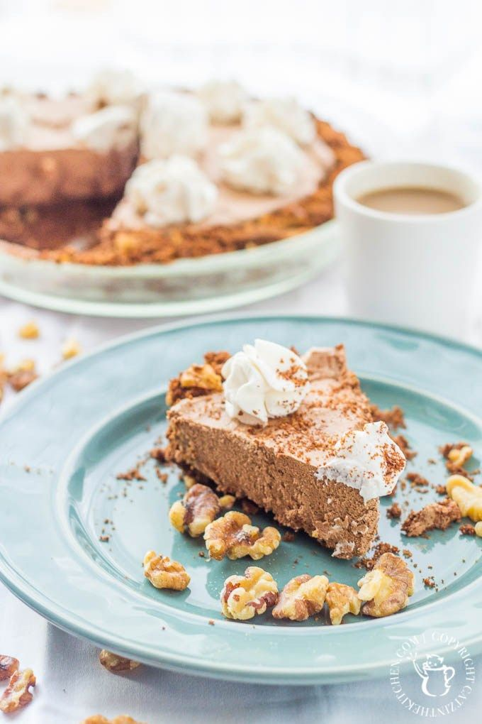 Chocolate Coffee Crunch Pie is a dessert recipe that checks all the boxes! It's got velvety chocolate, savory espresso, crunchy walnuts, and whipped cream!