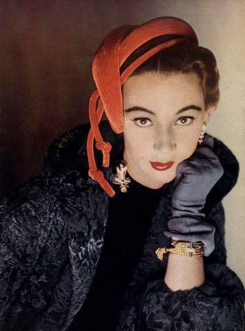 Sophie Malgat wearing a hat by Gibert Orcel and jewelry by Boucheron, 1952. #vintage #hats #fashion #1950s