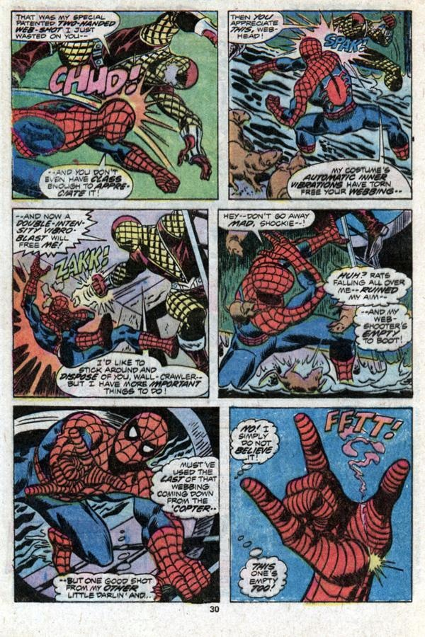 Here Spider-Man battles the Shocker... a then two-bit villain, destined to go on to great things... here, he is taken much more seriously...