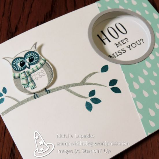 Hidden message card by Natalie Lapakko featuring Cozy Critters stamps and A Little Foxy DSP from Stampin' Up! #GDP063