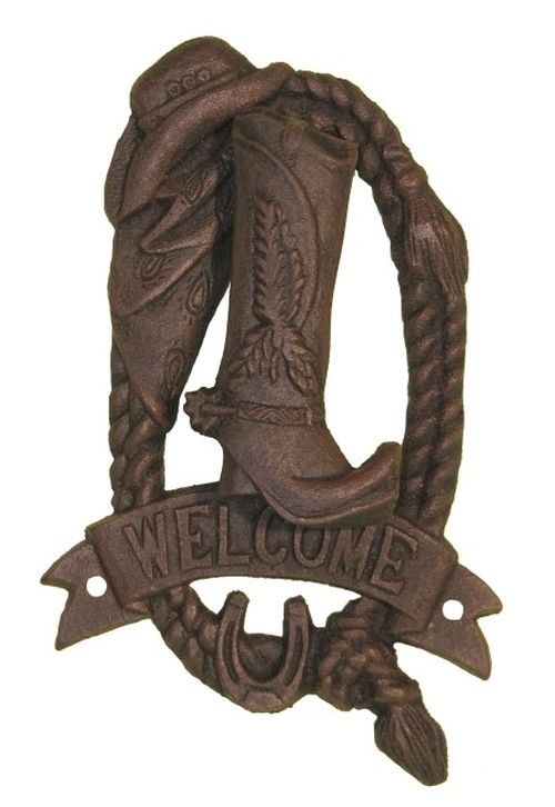 Cowgirl Bling Ranch, LLC - Cast Iron Cowboy Boot Welcome Door Knocker, $14.99 (http://www.cowgirlblingranch.com/cast-iron-cowboy-boot-welcome-door-knocker/)