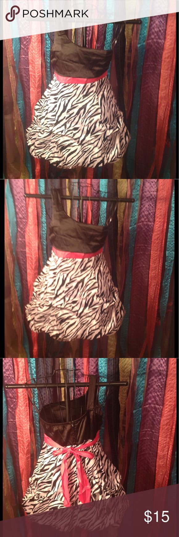 Satin Zebra Print Dress Satin ruffled dress with zebra Print skirt and black bodice with hot pink belt. From Belk. In excellent condition! Ruby Rox Dresses Formal