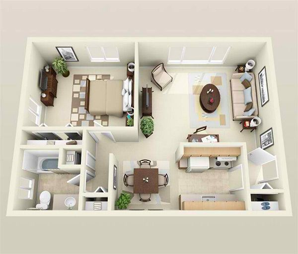 Apartment Floor Plans One Bedroom 35 best 1 bedroom 3d design images on pinterest | architecture
