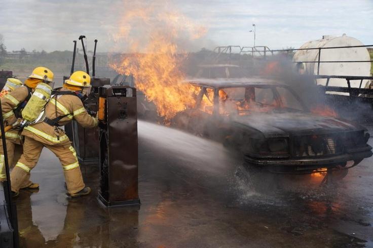 CFA career firefighter recruits doing hot fire training.