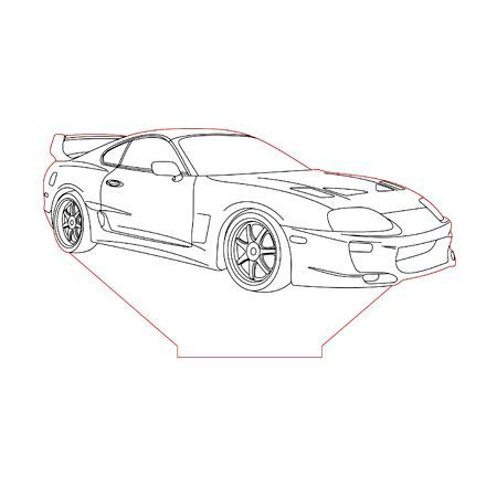 Toyota Supra 3d Illusion Lamp Plan Vector File For Cnc