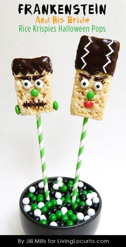 How to Make Frankenstein Halloween Rice Krispies Treat Pops. http://LivingLocurto.com
