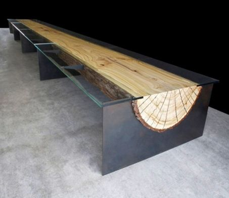 steel and log table