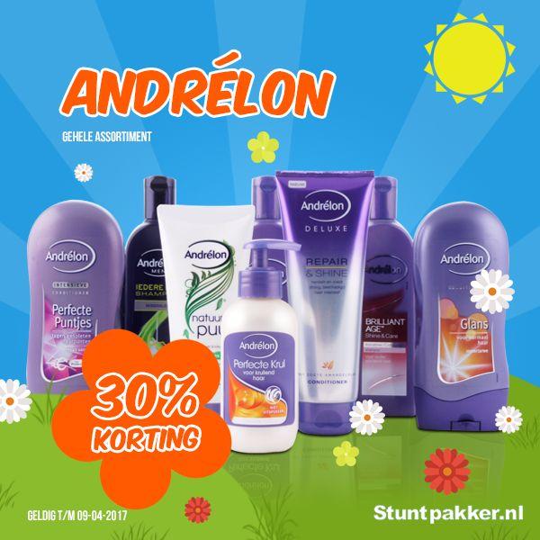 LENTE STUNTS - 30% KORTING op Andrélon  Ben jij op zoek naar shampoo voor krullend haar? Een haarmasker? Heb je pluizig haar? Wil je je haren wassen met shampoo voor geverfd haar? Heb je een gevoelige hoofdhuid? Of zoek jij een shampoo voor droog haar, beschadigd haar of juist een anti-roos shampoo? Voor ieder haartype of iedere haarwens kan je bij Andrélon terecht!  Shop snel op www.stuntpakker.nl