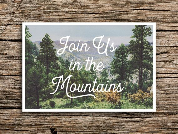 In the Mountains Save the Date Postcard // Mountain Wedding
