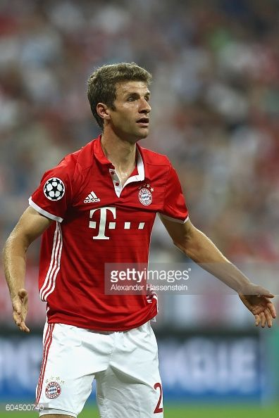 Thomas Mueller of Muenchen reacts during the UEFA Champions League Group D match between FC Bayern Muenchen and FC Rostov at Allianz Arena on...