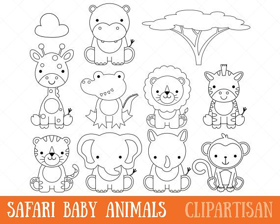 Clipart de animales bebé Safari digital sellos / página para ...