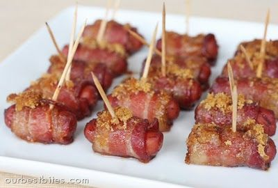 Bacon-wrapped cocktail sausages (aka heart attacks on a stick) These are so addictive and yummy! I will only make these 2 times a year, but it is so worth the wait!