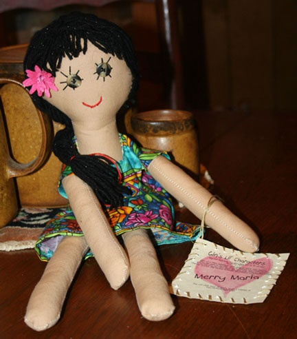 """Gin's Little Characters  Merry Maria  15"""" Handemade Rag Doll"""