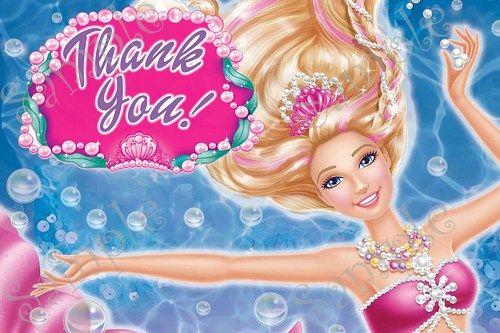 Barbie Mermaid Invitation, FREE thank you card