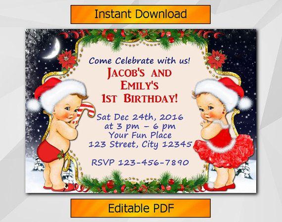 Twin Christmas Invitation Editable Girl and Boy by DigiInvites