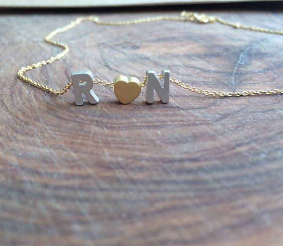 Heart and Initial Necklace. Tiny letter by lizaslittlethings