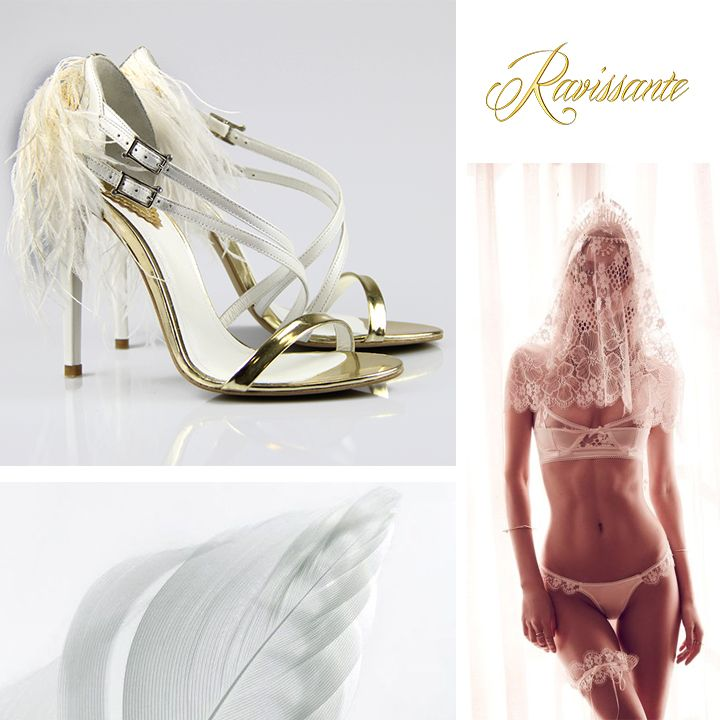 your wedding sandals with feathers and a golden touch