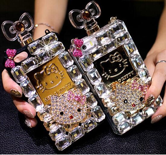 Luxury newest fashion rhinestone bling Hello Kitty girls perfume pottle case fashion for iphone 4 4S 5 5s 6 6 plus
