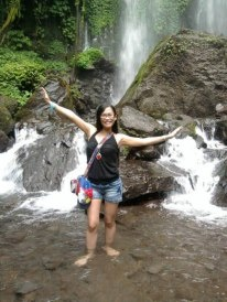 my first water falls experience in Solo, Indonesia