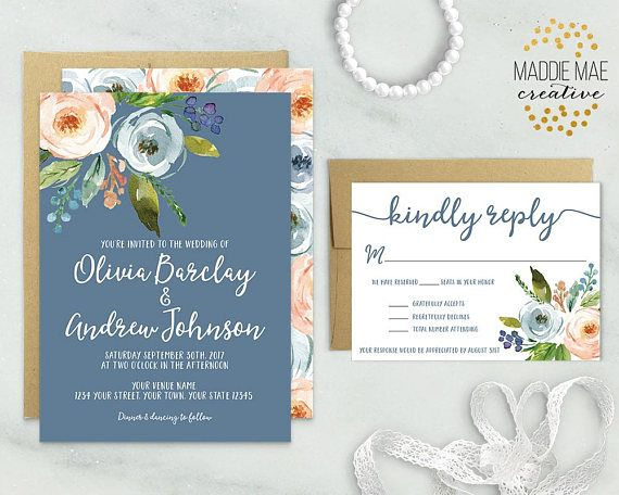 Dusty Blue Wedding Invitation + RSVP / Blue and Peach Floral Wedding Invite / Trendy Invitation, Elegant, Boho, Bohemian, Bridal Brunch
