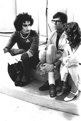 "Tim Curry, Barry Bostwick & Susan Sarandon on the set of ""The Rocky Horror Picture Show"" 1975."