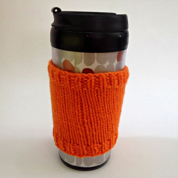 Coffee cozies, coffee cup sleeve, knit coffee cozy, knitted coffee cozy, coffee accessories, orage coffee mug, coffee sleeve, coffee cozy on Etsy, $15.00 CAD