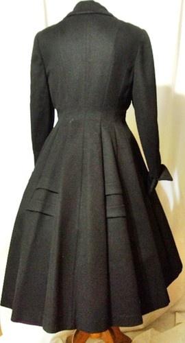 Vintage 50s Princess Dress Coat Wool Full Sweep IJ Fox Nipped Waist New Look | eBay
