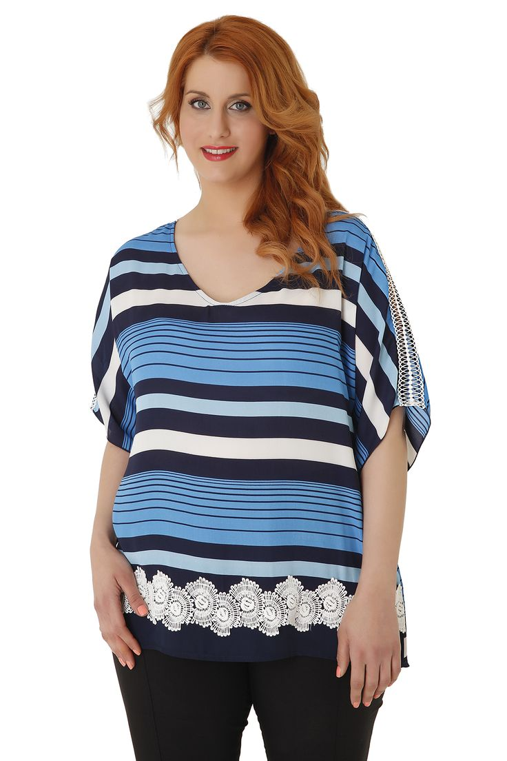 Striped top with wonderful colour combinations, V neckline and lace at the hem and on the sleeves. It combines perfectly the season's trends, stripes and lace. Available in 2 colours.